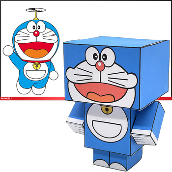No-glue Doraemon Cat Folding Cutting Cute Mini 3D Paper Model Papercraft Anime Figure DIY Cubee Kids Adult Craft Toys CS-036 image