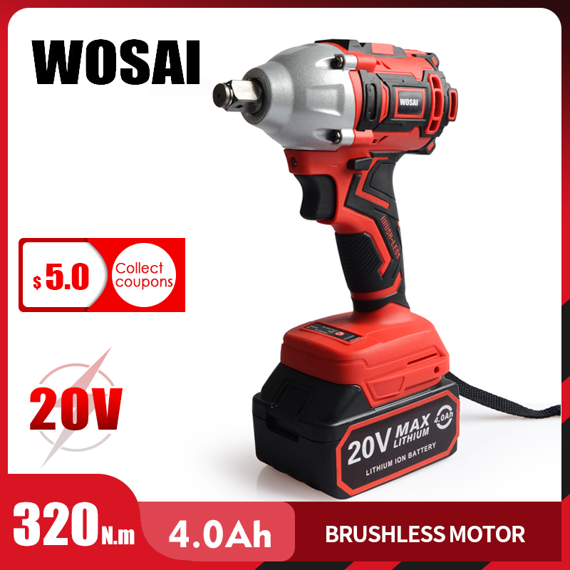 WOSAI 20V Brushless Electric Wrench Impact Wrench Socket Wrench 320N.m 4.0AH Li Battery Hand Drill Installation Power Tools