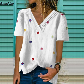 цена на 2020 Women Floral Print T Shirt Women Short Sleeve V Neck Shirt Plus Size Loose Cotton Polyester Top Casual  Printed Tee Shirt
