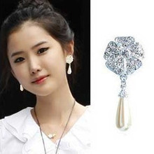 Pearl with Five-leaf Flower Earrings Female Sweet Floral Jewelry