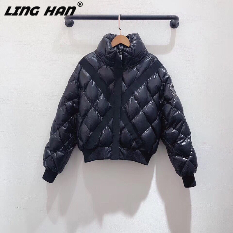 LINGHAN  Jacket Textured Micro Rib Fabric Casual Sports Style Hooded Down Jacket Quality Women's Winter Warm Down Jacket
