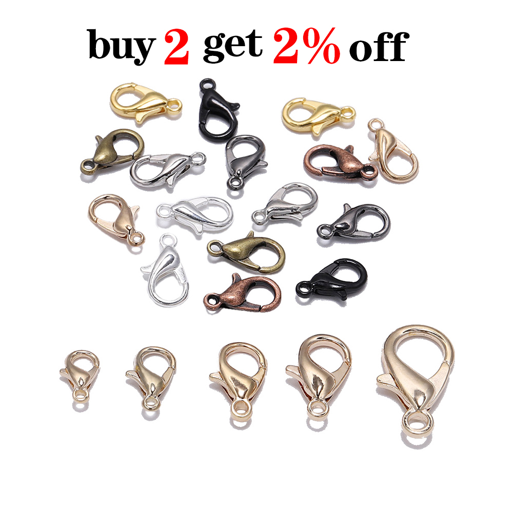 50pcs/lot Gold Alloy Lobster Clasp Hooks For DIY Jewelry Making Findings Necklace Bracelet Chain Accessory Supplies