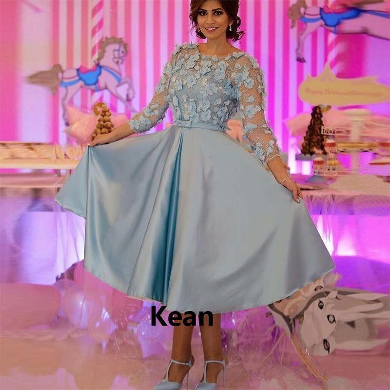 Sky Blue Flower Cocktail Dresses Satin Illusion Three Quarter Short Party Dress Homecoming Dresses Knee Length Plus Custom Made