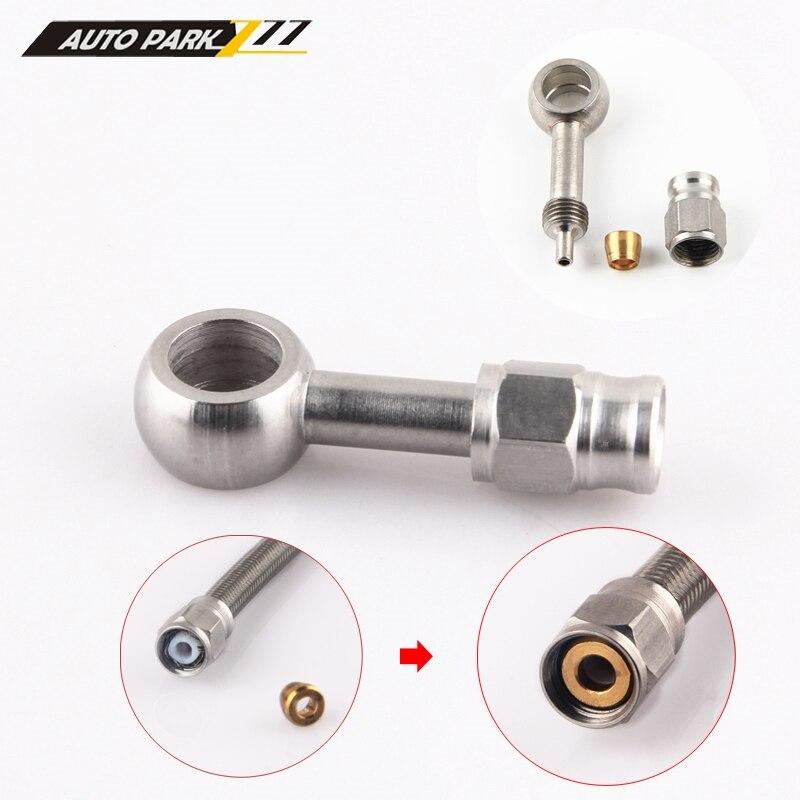 An3 10mm aço inoxidável banjo eye brake ptfe mangueira montagem/mangueira termina adaptador para carro auto motocicleta 0 graus/28 graus-2