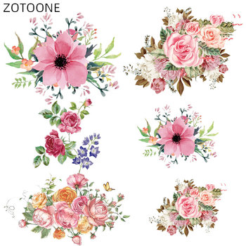 ZOTOONE Rose Patches Iron on Blooming Flower Stickers for Clothing Heat Transfers DIY Plants Patch for Kids Washable Appliques D image