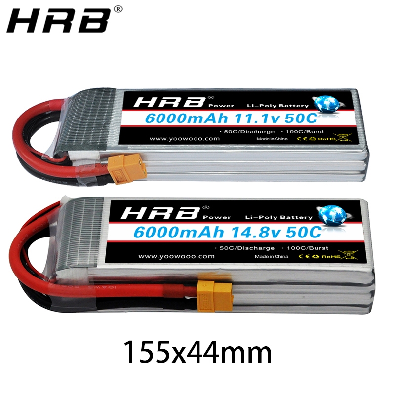 HRB 6000mah Lipo Battery 3.7V 7.4V 11.1V 14.8V 18.5V 22.2V 2S 3S 4S 5S 6S T Deans XT60 XT90 EC5 RC FPV Airplanes Drone Car Parts