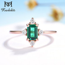 Kuololit 585 Rose Gold Emerald Gemstone Rings for Women Real 925 Sterling Silver Created Emerald Cutting Engagement Promise