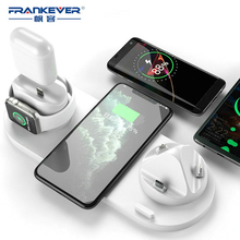 FrankEver 9V-2A Qi Wireless Charger IPhone 12 6 In 1 Fast Charging Dock USB Station for Apple Watch Charger Phone Accessories