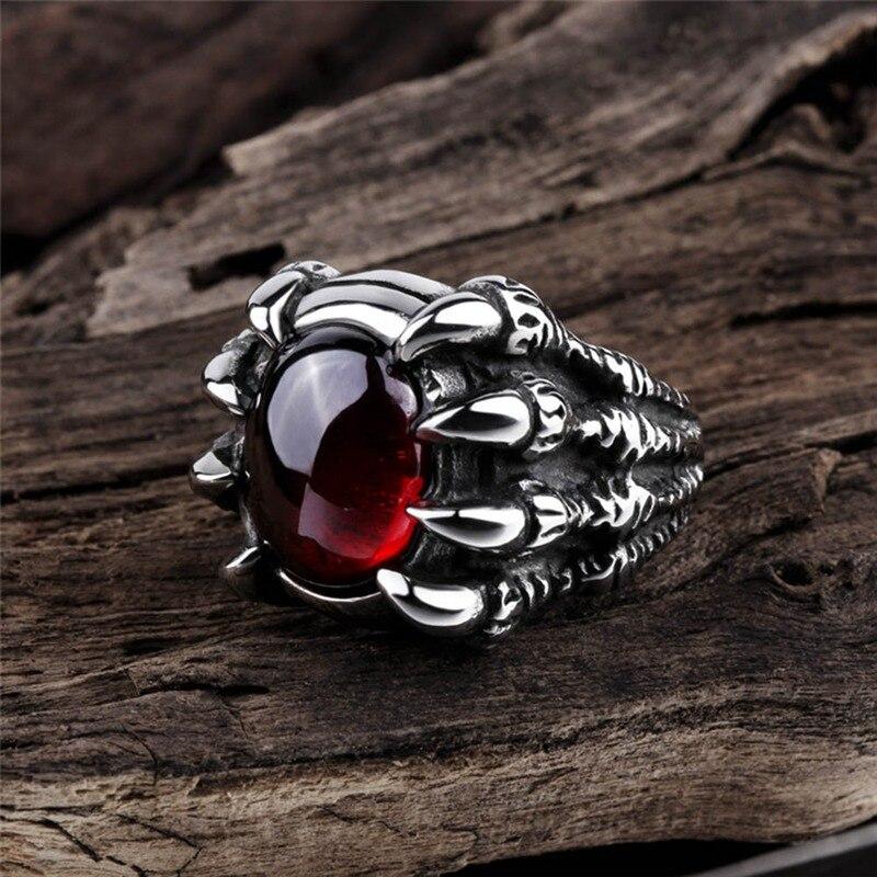 Мужское кольцо с крупным драконом в стиле панк-готика, кольцо с крупным камнем в стиле ретро, с черным и красным камнем-коготь дракона, круто...