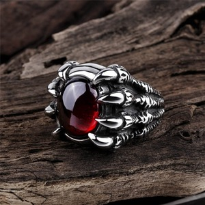 Retro Punk Goth Big Dragon Claw Black Red Stone Men's Ring Gothic Punk Men Big Stone Ring Red CZ Crystal Cool Boy Party Gift(China)