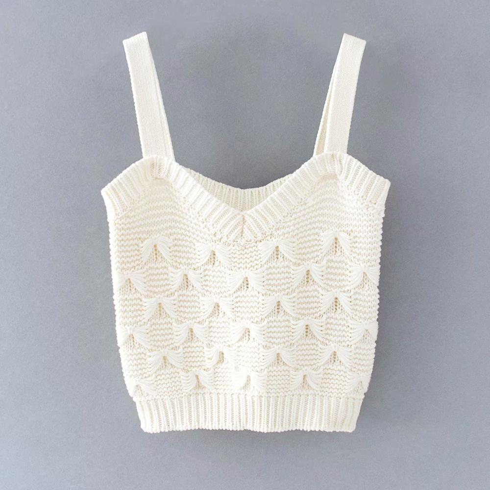 New 2020 Women Fashion Knotted Knitted Vest Ladies Spaghetti Strap Solid Camis Tank Tops Summer Wear Sling Crop Tops T625