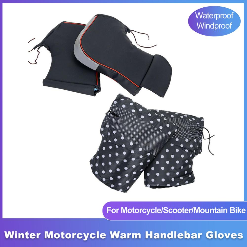 Winter Motorcycle Handlebar Gloves Motorcycle Gloves Windproof Waterproof Warm Handle Cover Bicycle Scooter Handlebar Cover