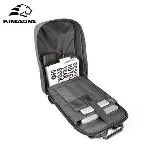 Image 5 - Kingsons 15 אינץ מחשב נייד תרמיל USB טעינה אנטי גניבה גברים תרמילי נסיעות תרמיל עמיד למים תיק בית ספר זכר המוצ ילה
