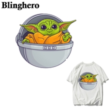 CA991  Iron-on DIY Handmade Decoration Yoda Baby Patches for Kids Clothes Appliques Heat Transfer Sticker on Clothes 2pc set black star beaded patches for clothing sequin stars rhinestone appliques beads parche diy handmade clothes accessories