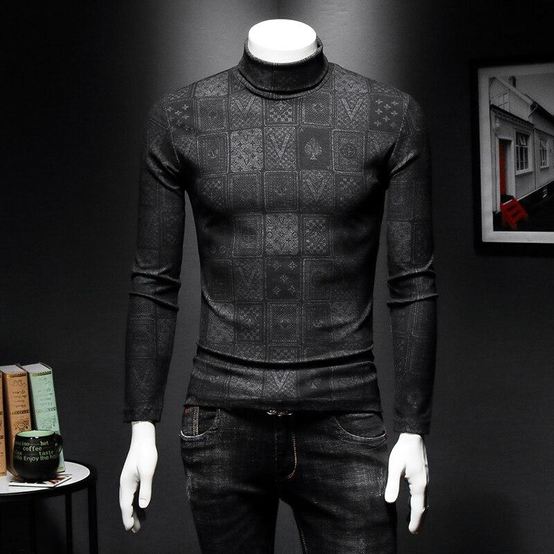 Men's Basic Turtleneck Male T-shirt 2019 Autumn Winter Tees Shirt Printing Cotton Slim Fit Long Sleeve Brand Clothing C48