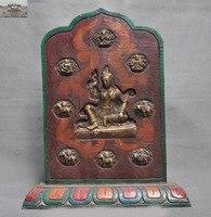 christmas Tibet Buddhism Wood Painted Bronze Goddess Kwan yin Buddha Statue Shrines Tangka New Year