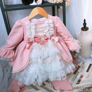 Image 3 - 2 pièces fille hiver laine rose à manches longues Vintage espagnol Lolita princesse robe de bal robe avec pantalon fille anniversaire de noël décontracté