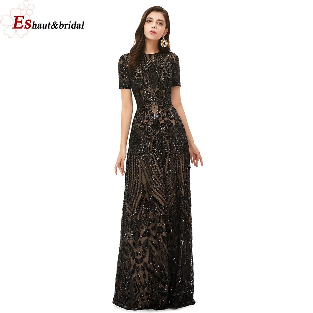 Dubai A-Line Luxury Evening Dress Muslim 2019 Vintage Short Sleeves Sequins Sparkle Prom Party Gowns