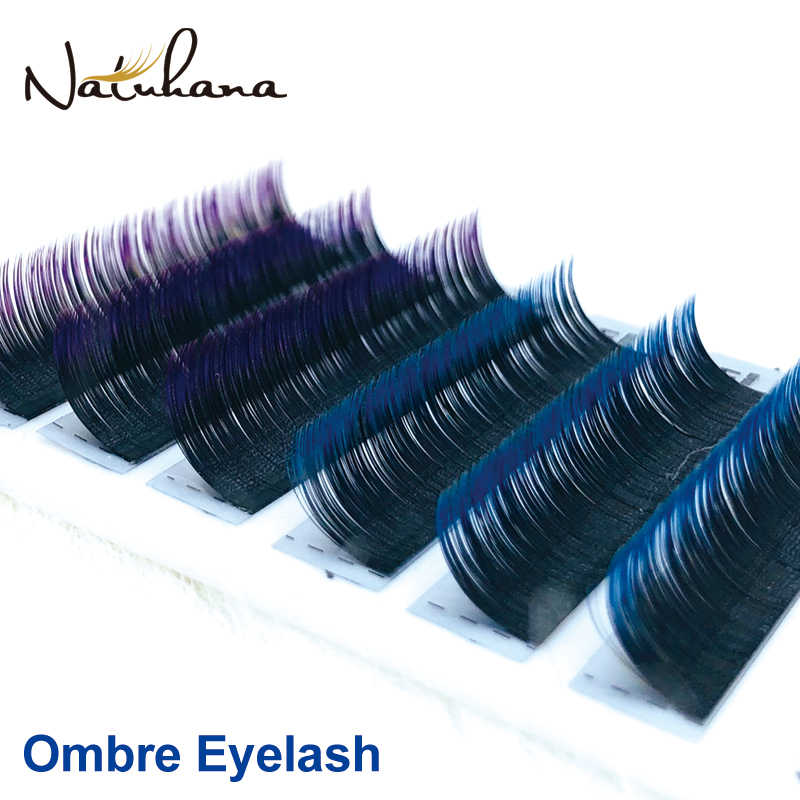 NATUHANA Free shipping 6Rows Ombre Blue Purple Color Eyelash Extension Individual Faux Mink False Eye Lashes Professional Salon
