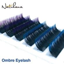 NATUHANA Free shipping 6Rows Ombre Blue Purple Color Eyelash Extension Individual Faux Mink False Eye Lashes Professional Salon