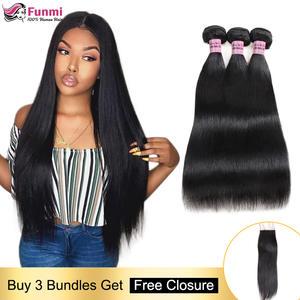 Hair-Bundles Closure Straight with 100 Human-Hair Non-Remy Brazilian