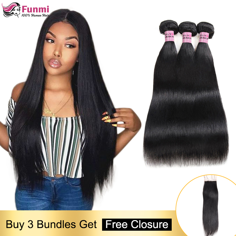 Free Closure Straight Human Hair Bundles Brazilian Hair Weave Bundles Straight Hair Bundles With Closure 100 Human Hair Non-Remy