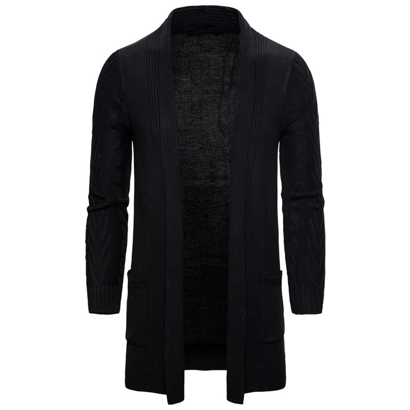 Clearance SaleMen's Wool Cardigan Solid Color Mardarin Collar Sleeve Autumn Winter Wear Thick Slim Fit Long Jacket Cotton Knitted Sweaters