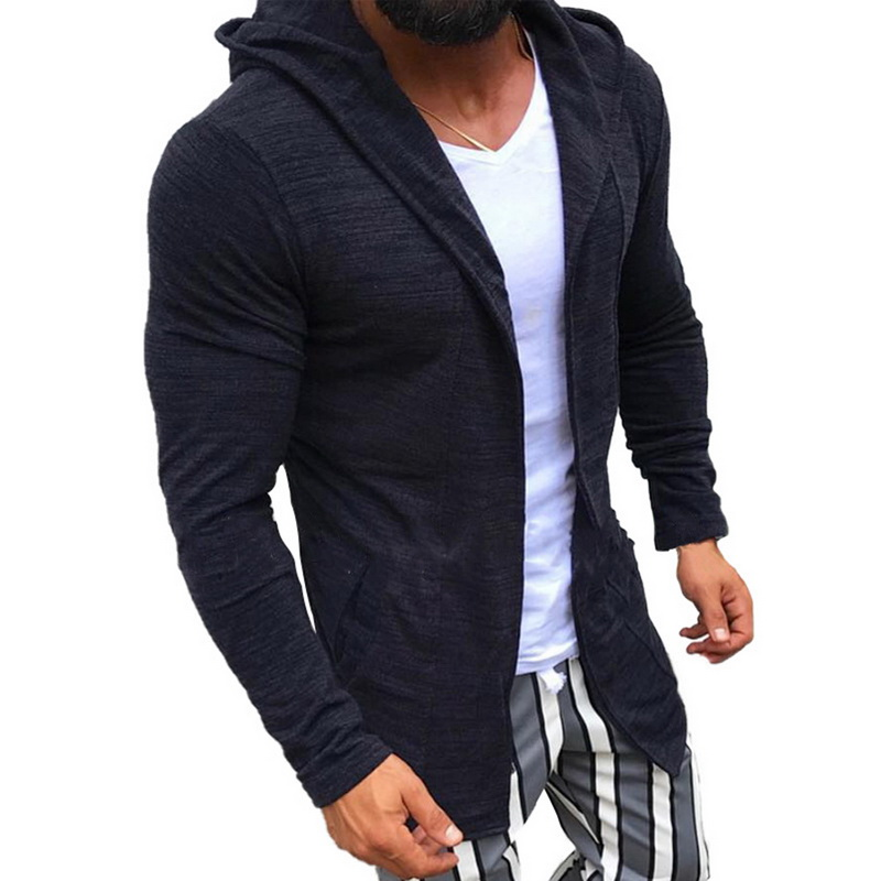 DIHOPE  Men Long Cardigan Open Front Draped Hooded Sweaters With Pocket Midi Sweaters Coat Pocket Winter Pull Homme Hiver