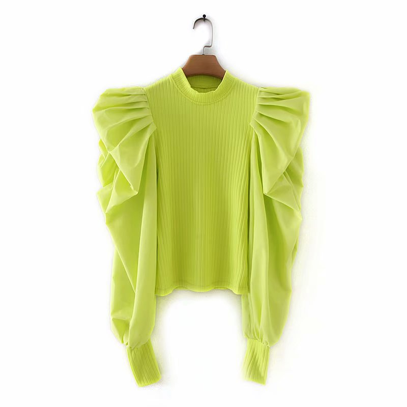 Women Solid Color Pleats Cascading Ruffles Patchwork Knitted Casual Slim Blouse Shirts Women Chic Blusas Femininas Tops LS4253
