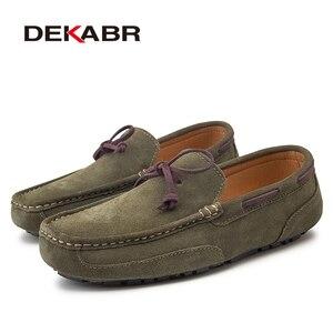Image 3 - DEKABR en cuir véritable hommes chaussures de luxe marque décontracté sans lacet mocassins formels hommes mocassins hommes conduite chaussures mocassins chauds