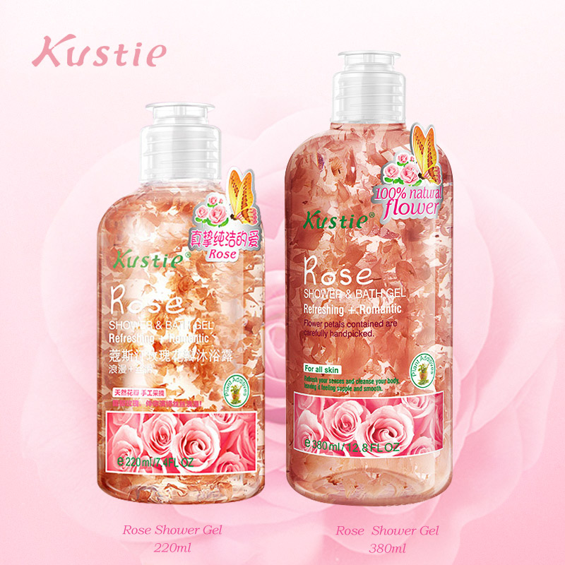 Kustie Flower Essence Shower Gel Rose 220 Ml+380 Ml Body Fragrance Autumn Winter Deep Hydrating Moisturizing Family Shower Gels