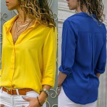 Casual Loose Women Blouse Shirts 2019 Autumn Basic V Neck Plus Size Blouse Long Sleeve Buttons White Shirt Women Tops Clothing 1