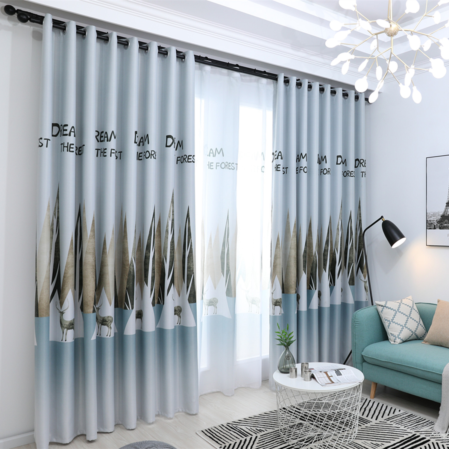 Nordic Style Fashion Blackout Window Curtains For Living Room Bedroom Custom Made Soft Hand Feeling