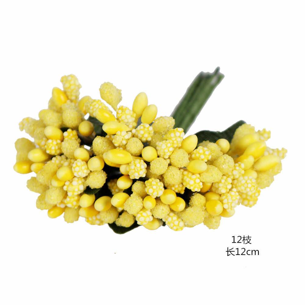 6/10/12/50/70/288 PCS ผสมสีเหลืองดอกไม้ Cherry Stamen Berries Bundle DIY คริสต์มาสงานแต่งงานเค้กของขวัญกล่องตกแต่งพวงหรีด