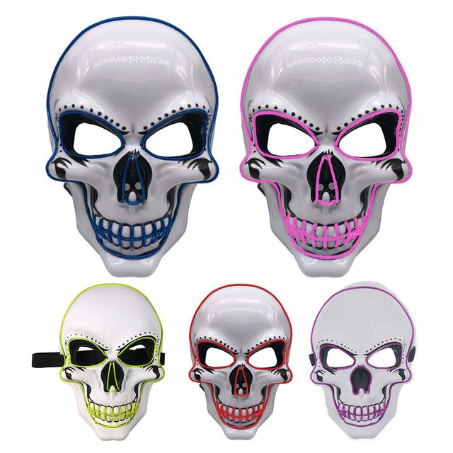Halloween Skeleton Mask LED Glow Scary EL-Wire Mask Light Up  Festival Cosplay Costume Supplies Party Mask mardi gras 5