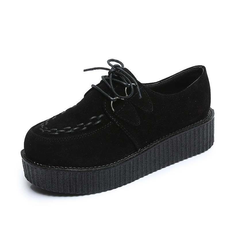 Creepers Women Flats Platform Shoes Woman   Suede     Leather   Shoes Ladies Casual Shoes Female Lace-Up Women Shoes Plus Size 41
