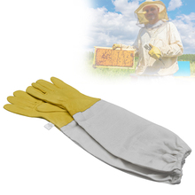 Beekeeping gloves Protective Sleeves Ventilated Professional sheepskin and canvas Anti Bee for Apiculture beekeeping gloves unisex anti bee clothing cotton beekeeper bee clothing bee caps 1pair sheepskin gloves apiculture costume white grey color
