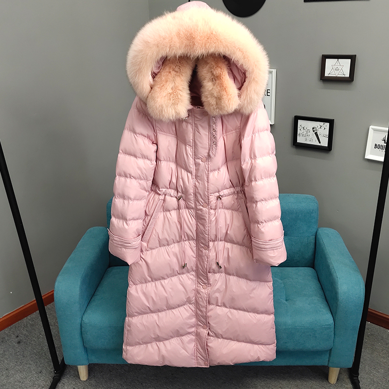 Large Natural Fox Fur Collar 2019 Warm Hooded   Coat   Long   Down   Parkas Women 90% White Duck   Down   Jacket Winter Thick Snow Outwear