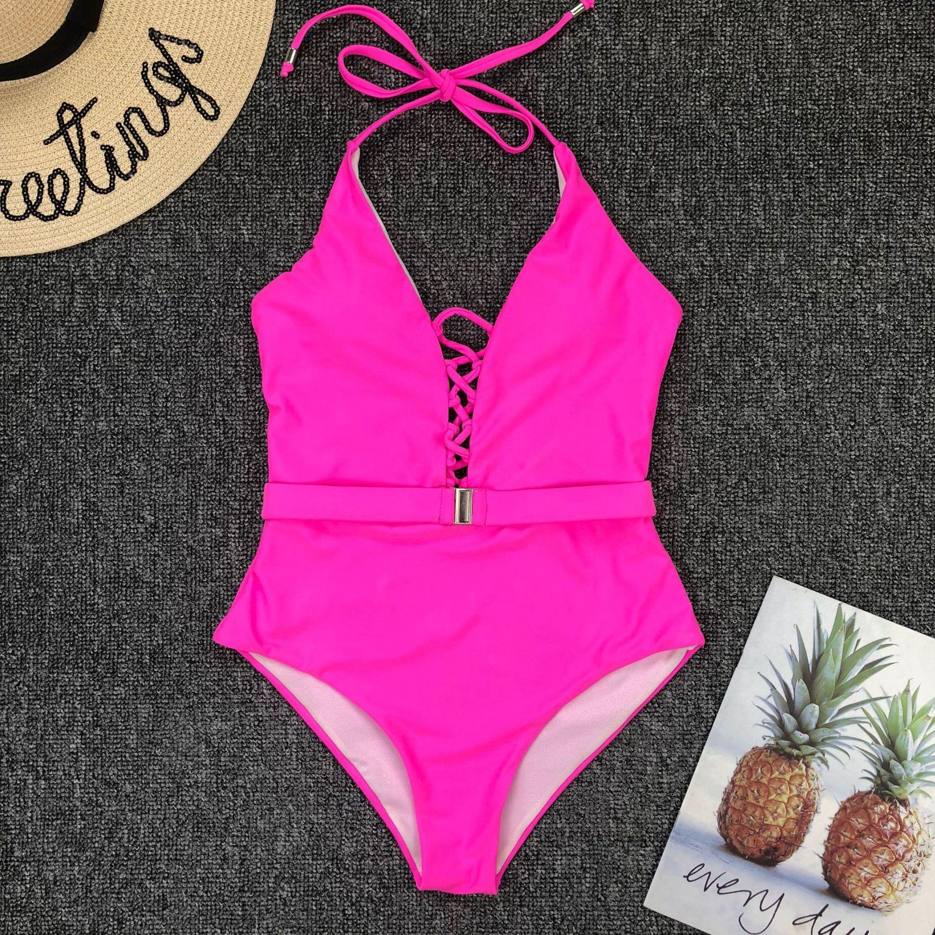 Одноцветный купальный костюм с бретельками, модель 2020 года, сексуальный купальник для женщин, с поясом, с высокой посадкой, пляжная одежда, u-... 66