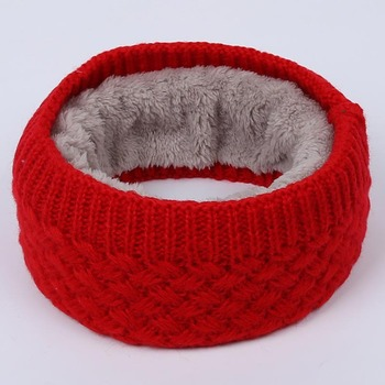 6 Colors Winter Warm Plus Velvet Knit Neck Warmer Circle Outdoor Wrap Cowl Loop Snood Shawl Go Ski Climbing Scarf for Men Women image