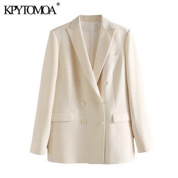 KPYTOMOA Women 2020 Fashion Office Wear Double Breasted Blazer Coat Vintage Long Sleeve Pockets Female Outerwear Chic Tops