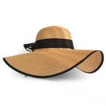 Летняя соломенная широкополая шляпа с большими полями, шляпа от солнца с широкими полями, пляжные складные шляпы с бантом, новинка, шляпы для женщин