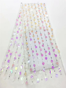New Design white French Sequins net Lace Fabric African Super Sequin Mesh Fabric High quality Organza Nigerian Best Party FRF329