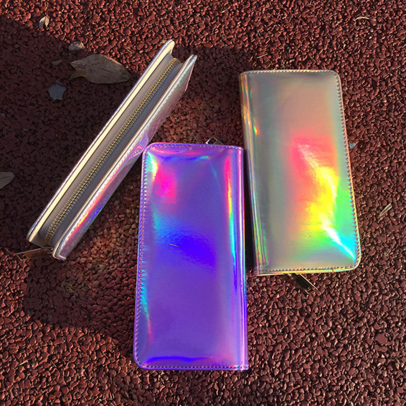 Women Wallets Female Cute Silver Laser Leather Purse Ladies Designer Fashion Money Bags in Wallets from Luggage Bags