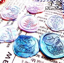 Tampon de cire à sceller, champignon et feuille pour sceau, lune et haute mer, peinture au wapiti