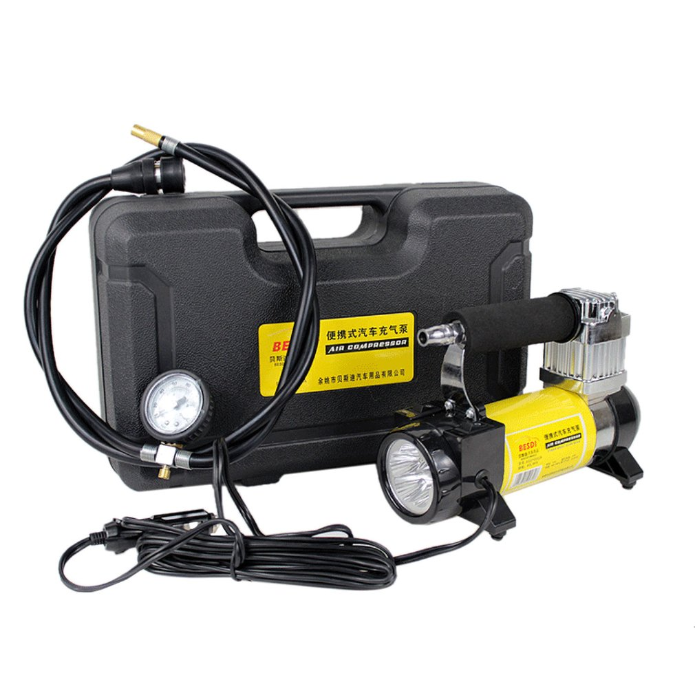 140PSI 40L/min Car Tire Inflatable Pump 150W 12V Portable Single Cylinder Air Compressor With LED Light For Car Emergency