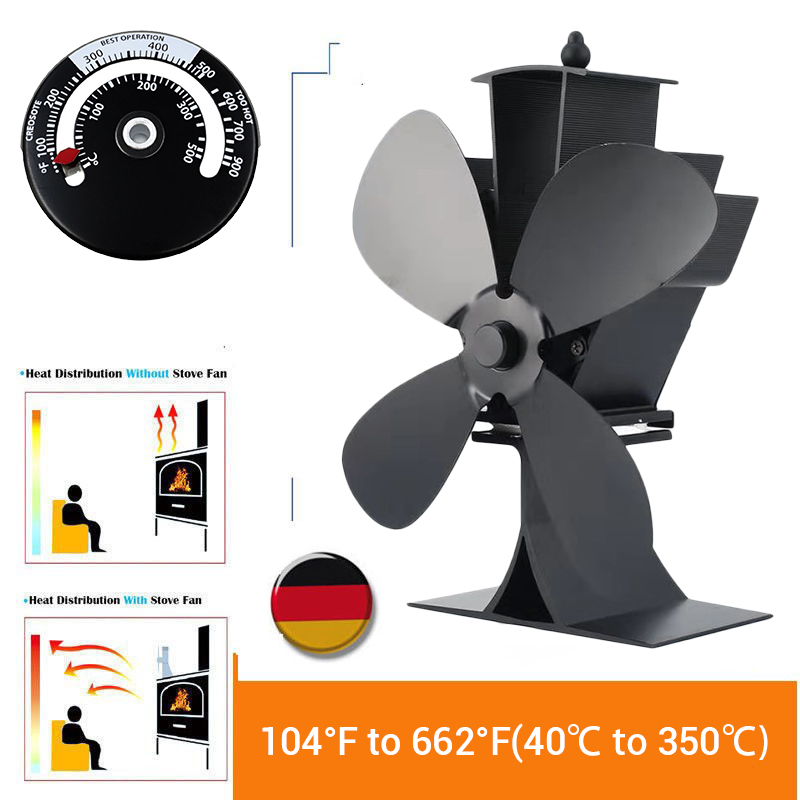 Black 4 Blowers Fan Stove Fan Stovev Top Fan 4 Blades Flue Pipe Heat PoweredLow Starting Remperature 50 ℃ CE Woodburning Stove Fanless For Wood Burning Oven Stove Eco 2019 Thermometer Eco Friendly