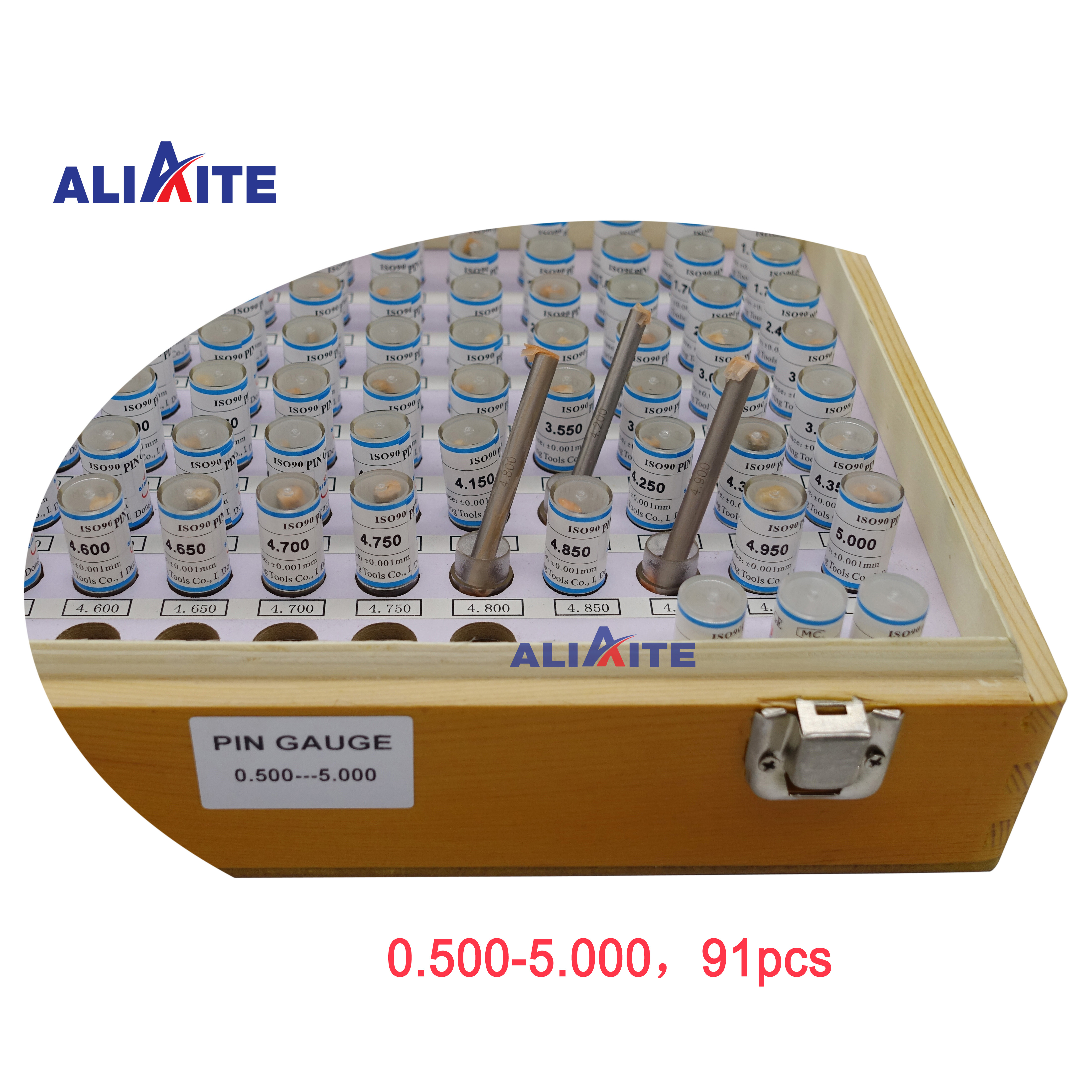 Pin Gauge Set 0.500-5.000(step: 0.05,91pcs)   Aliaite Pin Plug Gauge Set