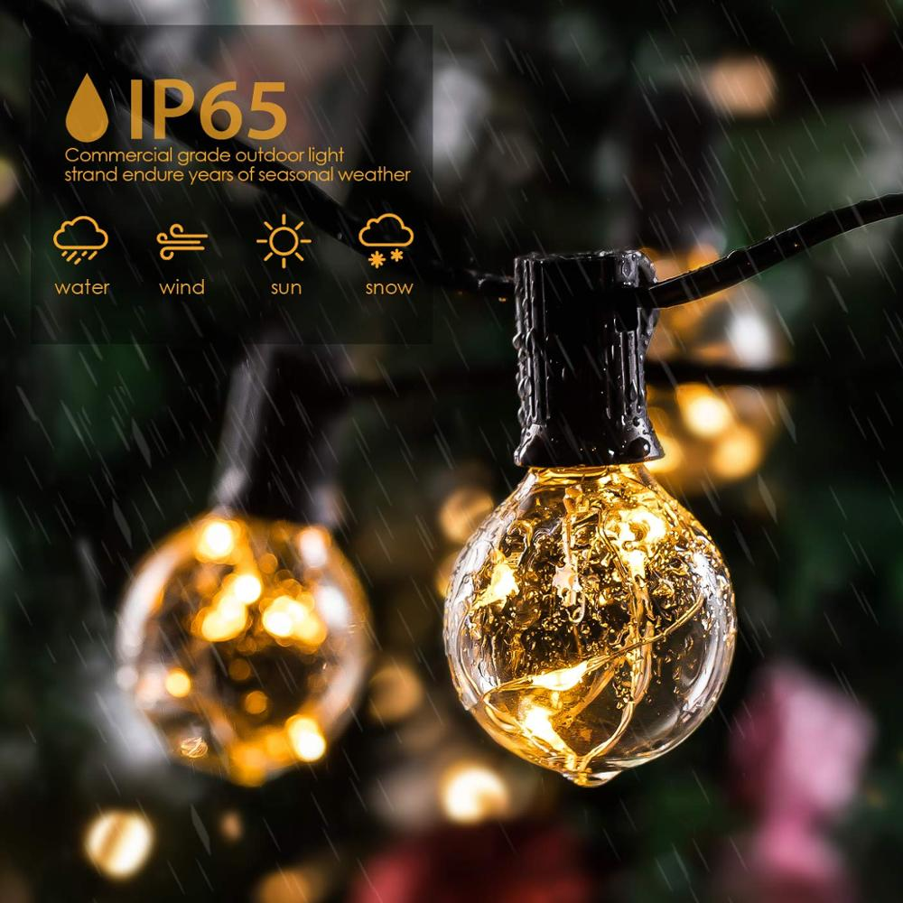 Globe String Lights G40 30 LED Bulbs  Outdoor Patio Copper String Lights IP65 Waterproof For Christmas Lights Garden Party