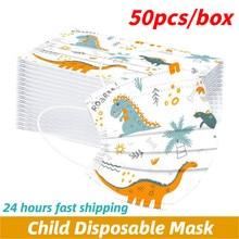 50pc dinossauro dos desenhos animados crianças máscara descartável 3 camada criança filtro higiene engrossar rosto boca máscara earloop rapidamente delievry
